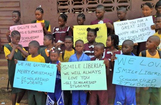 Children thank Smile Liberia