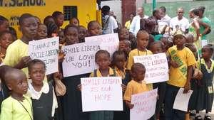 Students thank Smile Liberia