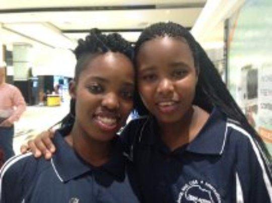 Phoebe and Abigail in Johannesburg Awaiting Flight