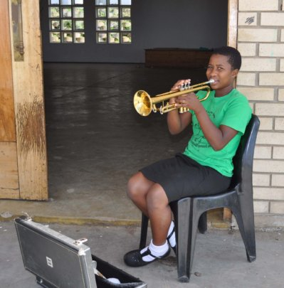 Suzzanna practicing her trumpet