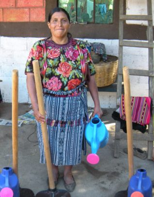 Manuela Showing Off her New Gardening Equipment