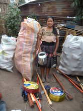 Josefa with the materials for her garden.