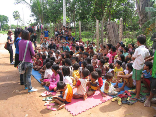 Tiny Toones giving a talk in one of the 'villages'