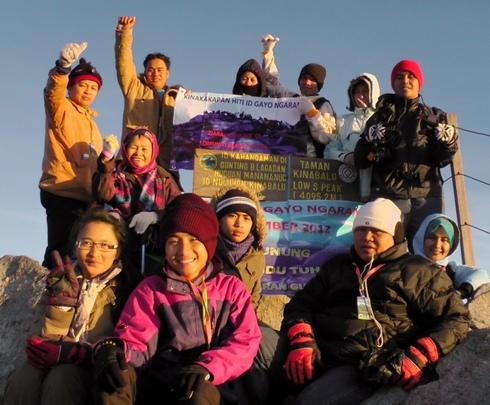 At the peak of Mt. Kinabalu