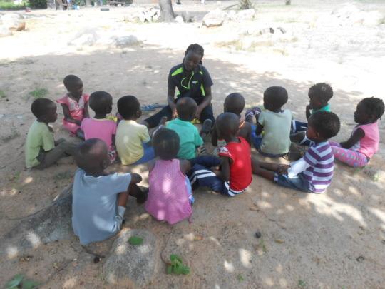 Sithabisiwe with pre-schoolers