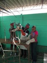 Girls Welding their first sculpture
