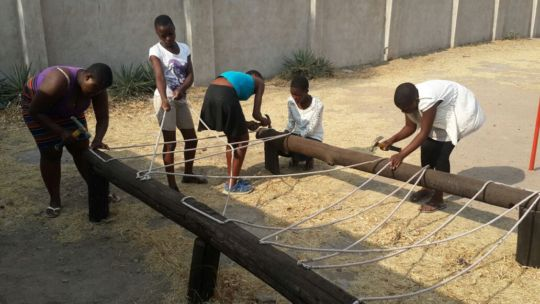 Our girls built a new obstacle unit for our course