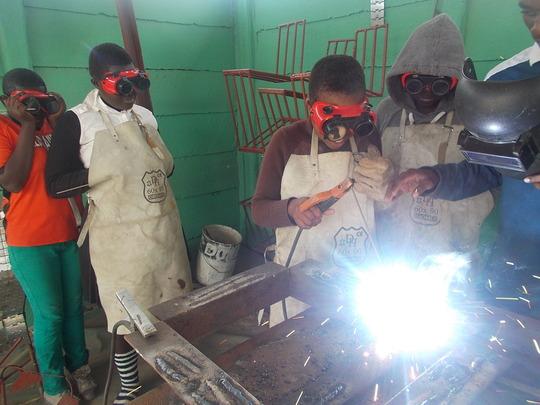 Our girls welding frame for well cap