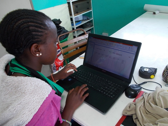 Thamani is entering health stats in our computer