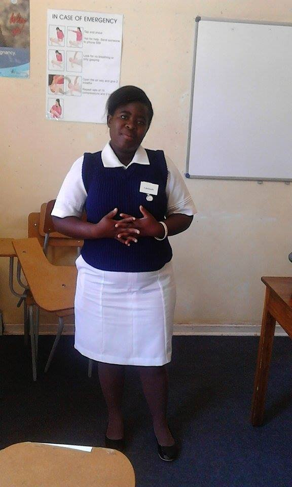 Esther in uniform at her attachment