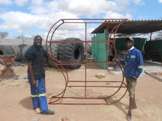 Ngqabutho (left) designed a new shelf for client