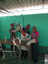Our Girls learning to weld their first sculpture