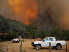 The Aberfeldy fire approaches Wollangarra