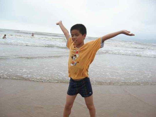 Pan Pan at the beach in Qingdao