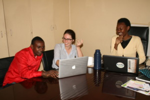 Laurel working with Esther & Boniface (CDTD staff)
