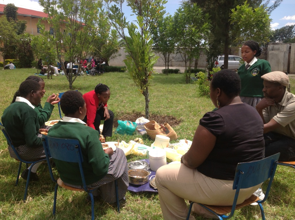 Sharing a meal on school visiting day.