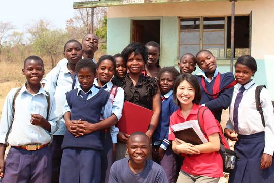 The writer with children, Lusaka - September 2011