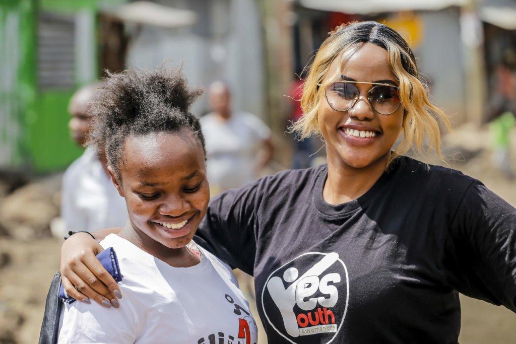 Cythia and our volunteer at Mukuru slum
