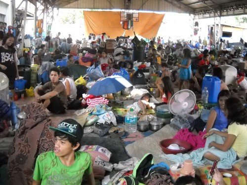 An emergency evacuation center for those affected