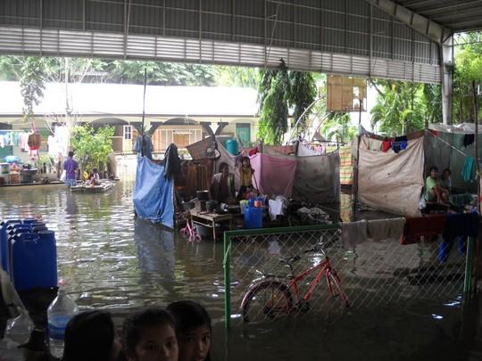 Flooded school used as evacuation center