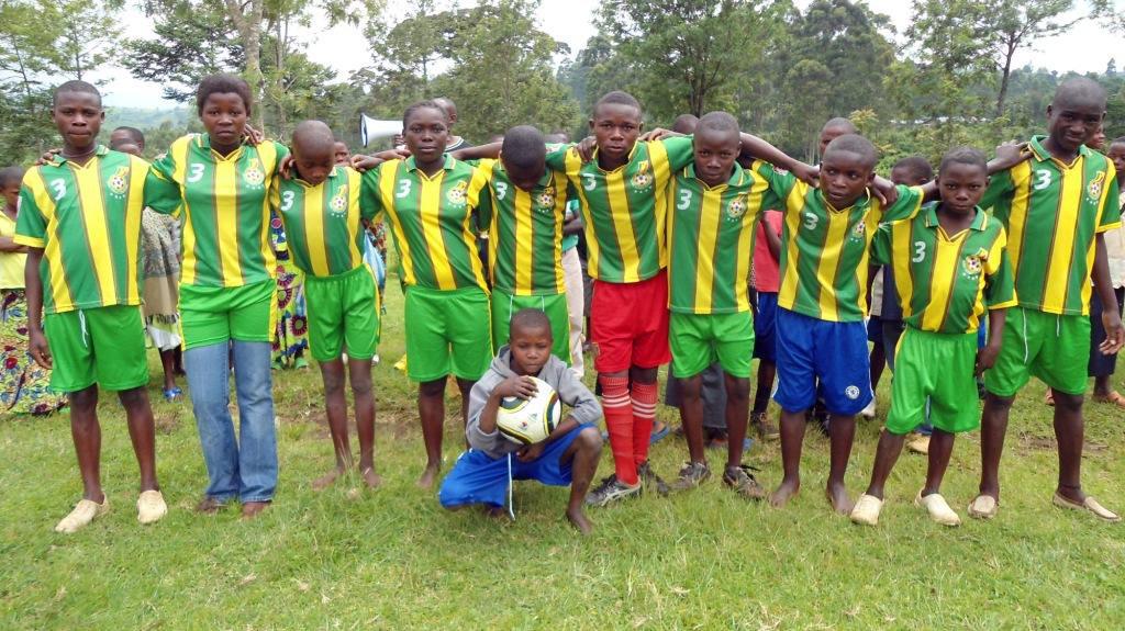Boys and girls of Kalonge, playing football