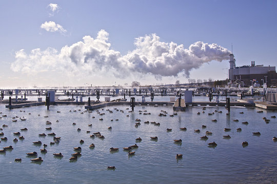 Smokestacks, Lake MI (CC courtesy Cindy Snider Re)