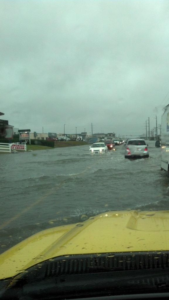 Road during Hurricane Sandy in Kitty Hawk, NC