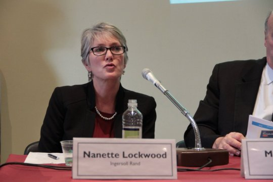 Nanette Lockwood answers questions at the briefing