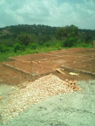 Materials on site and foundations laid