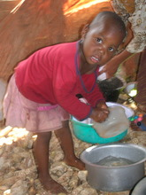 Children help with home chores