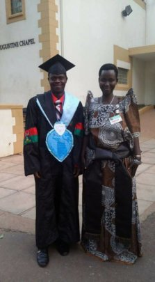 Joseph and his mother at Makerere University