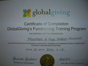 Our Globalgiving certificate