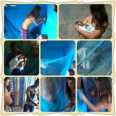 Our staff and volunteer hanging bed nets