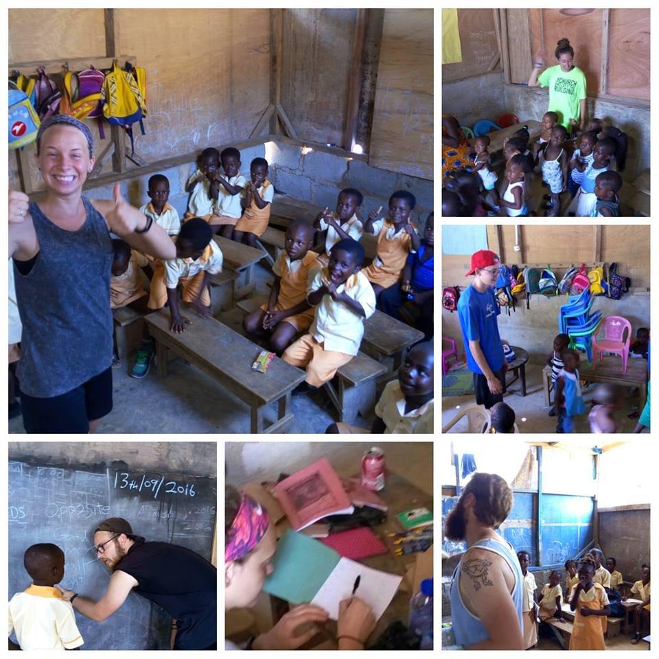Teaching rhymes, singing songs and helping kids