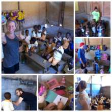 Teaching rhymes, singing songs and helping kids