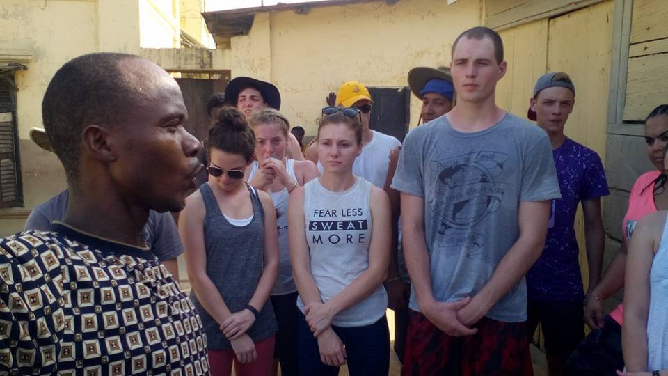 Students been tour around Amanful Community