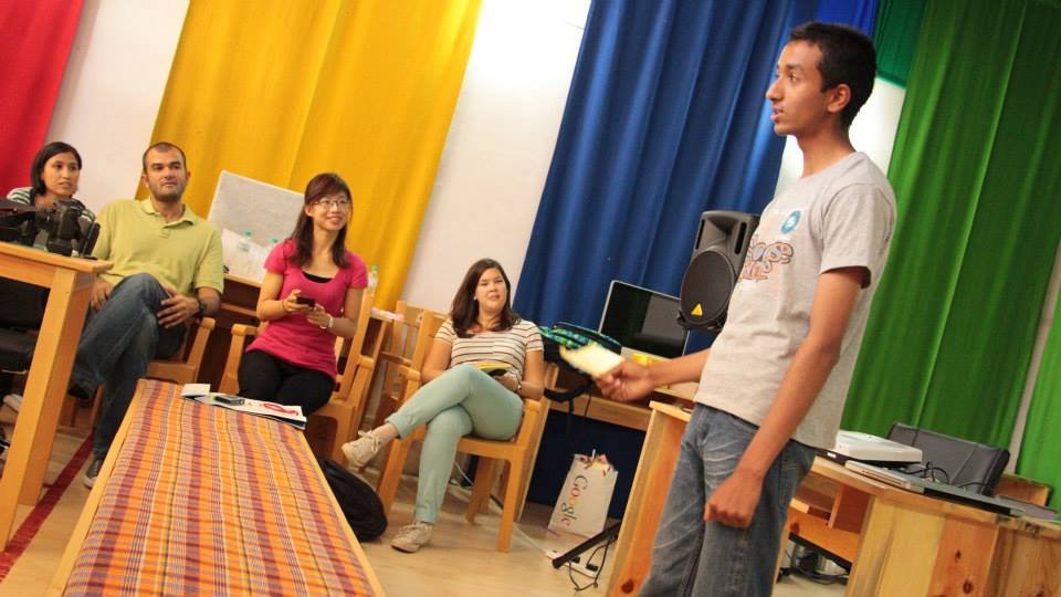 Sawan practices his speech at the Google workshop