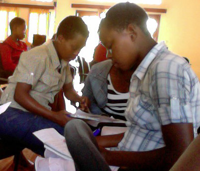 Students reviewing their work