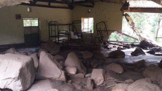 Landslide destroying school dormitory