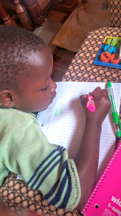 Editha Drawing with Pens from Gift