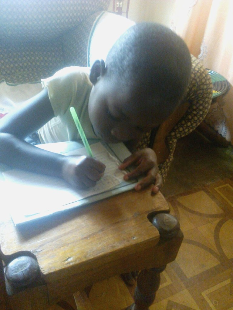 Editha learning to write