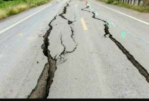 Road damaged due to Earthquake