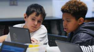 Students exploring the Hour of Code