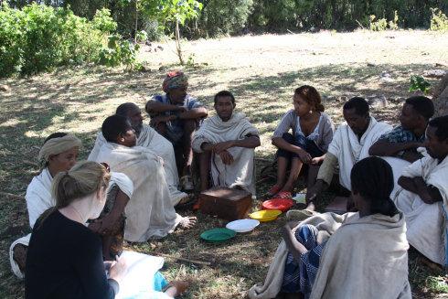Emma joins meeting of the VSLA, Addis Alem