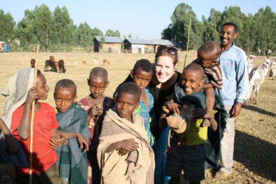 Emma having fun with the local children