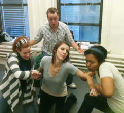 The cast rehearses How Peanut Butter Met Jelly.