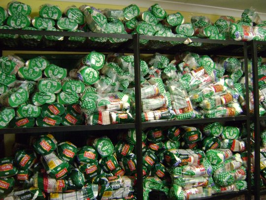 Food parcels ready for distribution