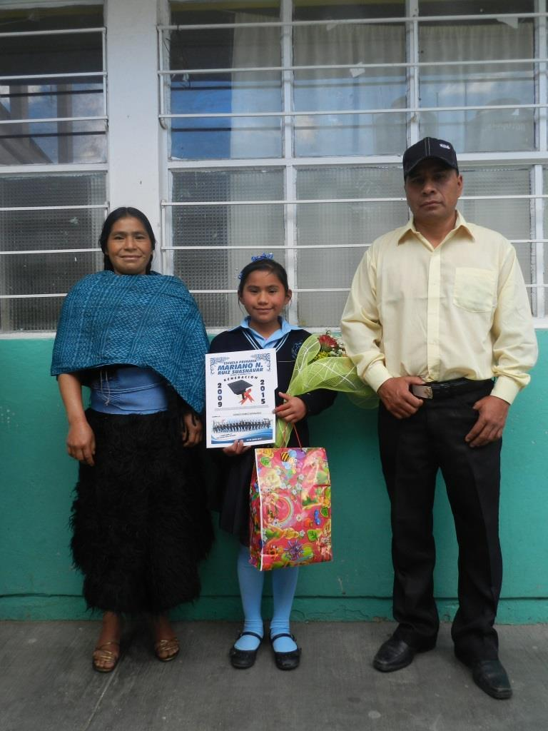 Primary school graduate she has a scholarship