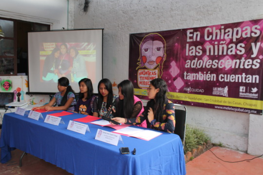 Press conference led by girls and adolescents