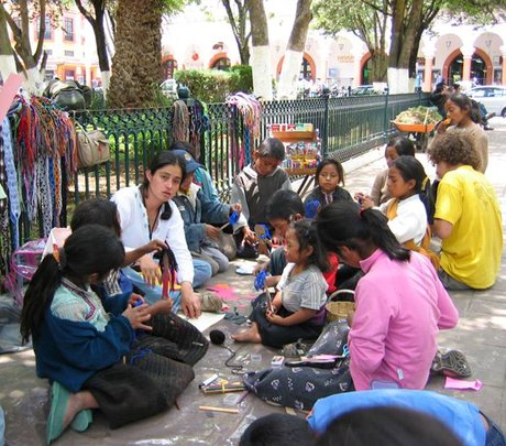 Learning circle with working children